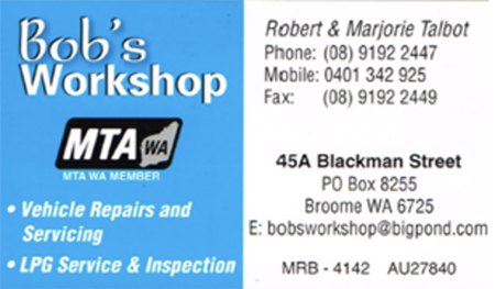 Bobs Workshop business card front - before