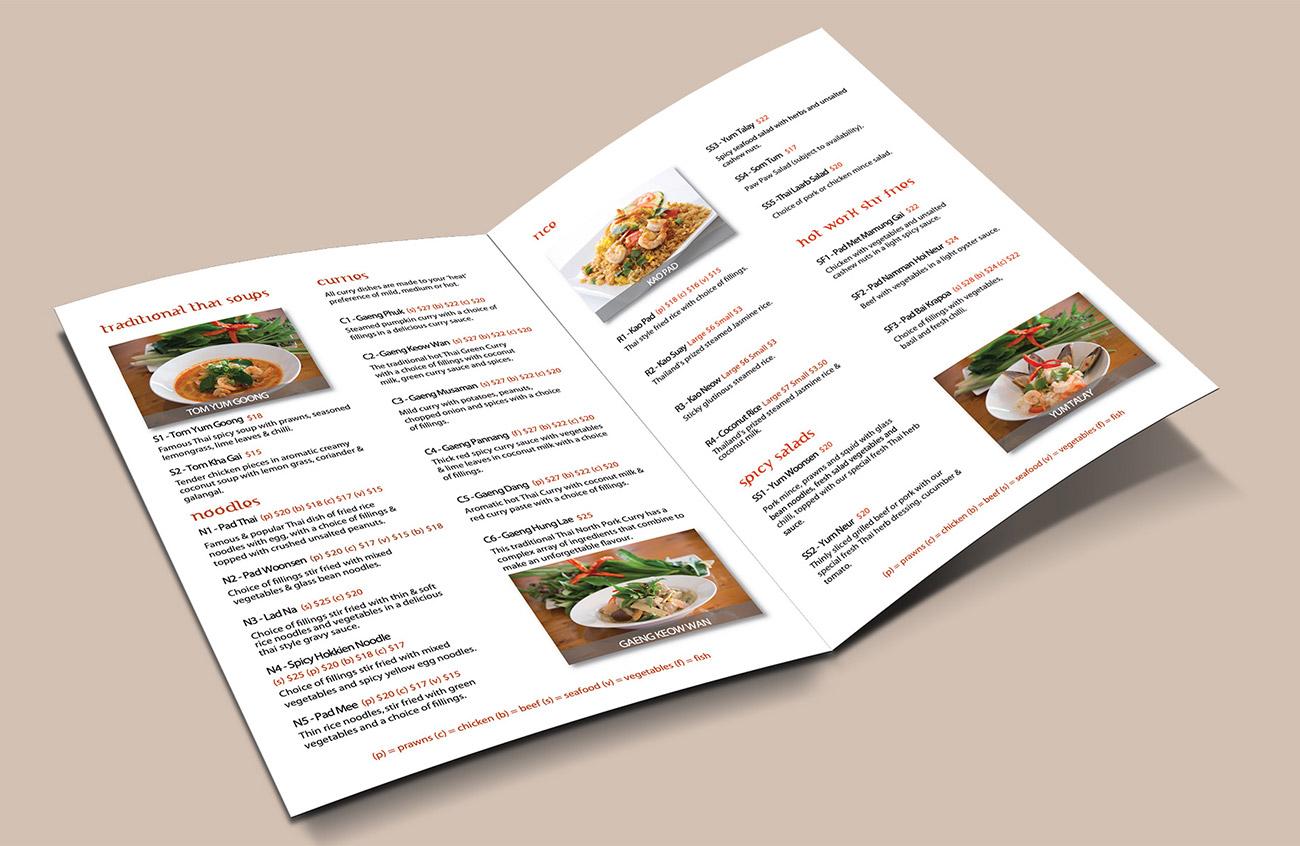 Ginreab Thai InHouse Menu menu inserts