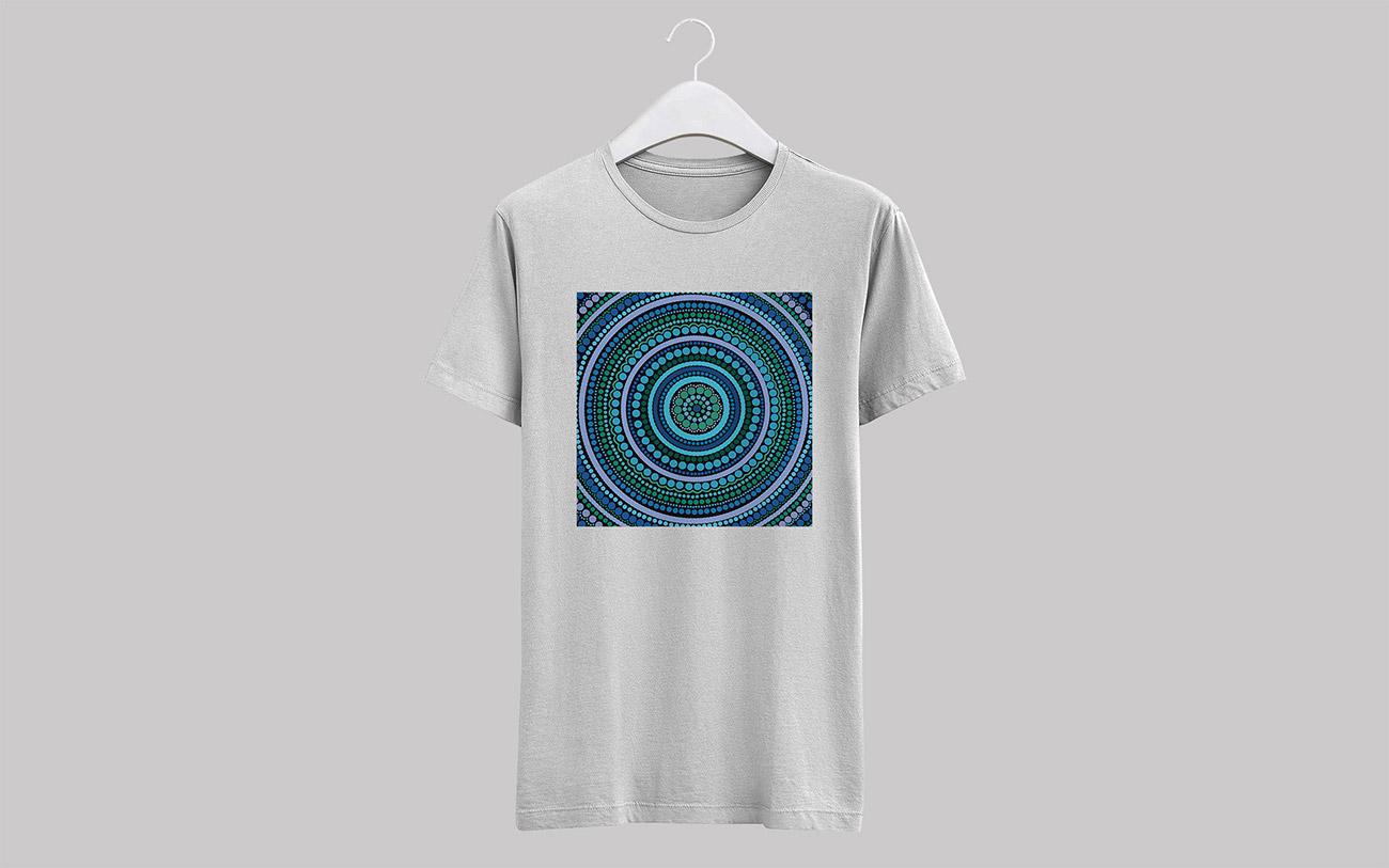 Aboriginal blue circle dot painting vector